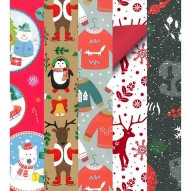20x kerstmis kadopapier rollen 2,5 x 0,7 meter voor kinderen