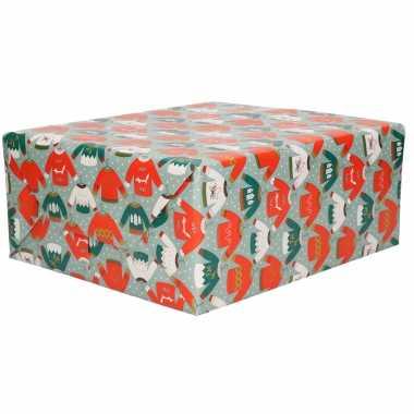 4x rollen inoutfitpapier/cadeaupapier kerst print blauw 2,5 x 0,7 meter 70 grams luxe kwaliteit