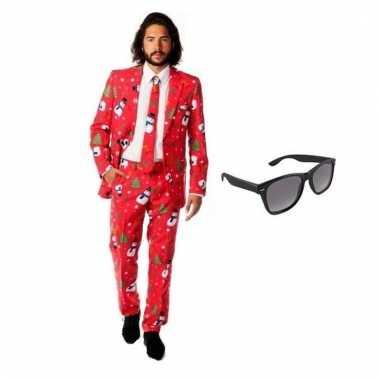 Carnavalsoutfit heren kerst print outfit 54 (2xl) met gratis zonnebri