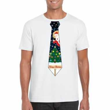Fout kerst shirt wit kerstboom stropdas voor heren