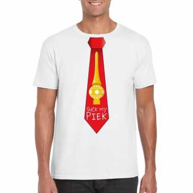 Fout kerst shirt wit suck my piek rode stropdas voor heren