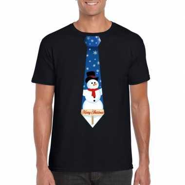 Fout kerst shirt zwart sneeuwman stropdas voor heren