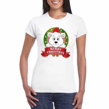 Fout kerstmis shirt met ijsbeer voor dames