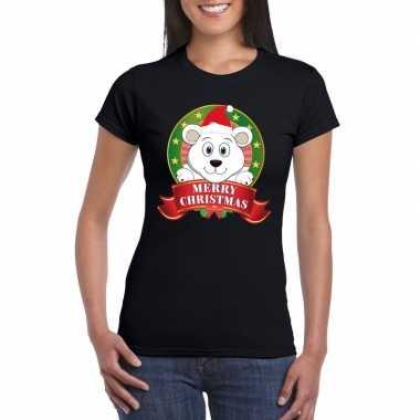 Fout kerstmis shirt zwart met ijsbeer voor dames
