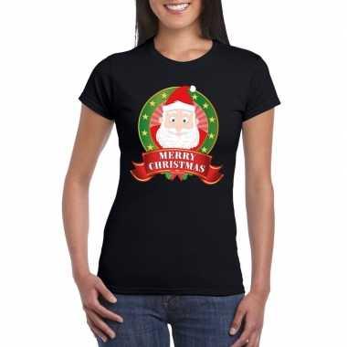 Fout kerstmis shirt zwart met kerstman print voor dames