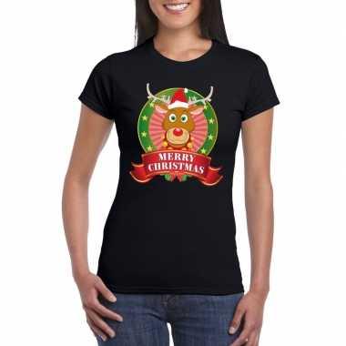 Fout kerstmis shirt zwart met rendier rudolf voor dames