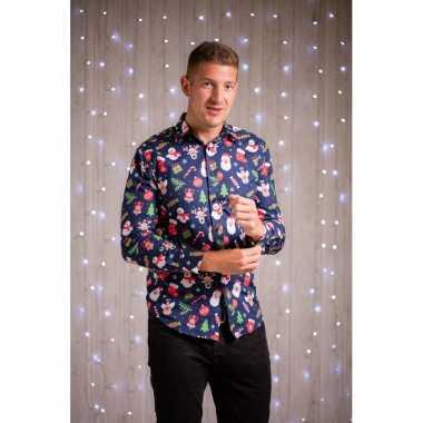 Foute kerst blouse met kerstmannetjes blauw