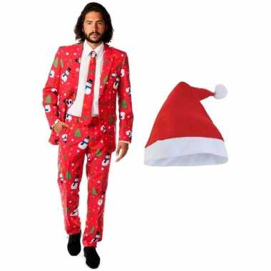 Foute kerst opposuits outfitken/outfits met kerstmuts maat 54 (2xl) v
