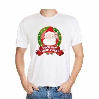 Foute kerst shirt wit fuck off i hate x mas voor heren