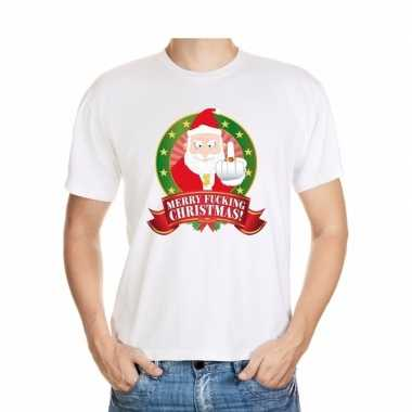 Foute kerst-shirt wit merry fucking christmas voor heren