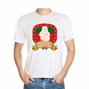 Foute kerst shirt wit take me it's christmas voor heren