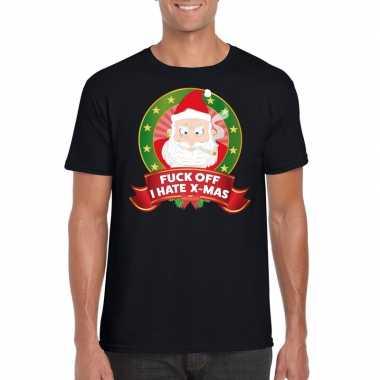 Foute kerst shirt zwart fuck off i hate x mas voor heren