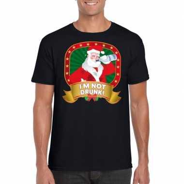 Foute kerst shirt zwart met dronken kerstman voor heren
