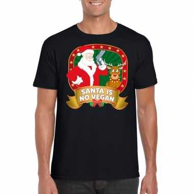 Foute kerst shirt zwart santa is no vegan voor heren