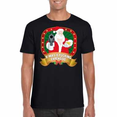 Foute kerst shirt zwart x mas is fucking expensive voor heren