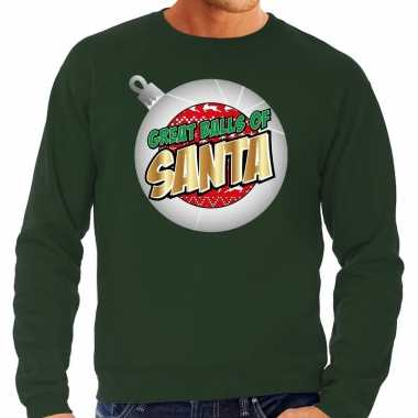 Foute kerstborrel outfit / kerst outfit great balls of santa groen vo