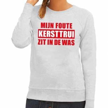 Dames Trui Met Tekst.Grappige Tekst Kerst Outfit In De Was Voor Dames Grijs Kerst Outfit Nl