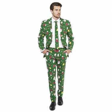 Groene business suit met kerst thema