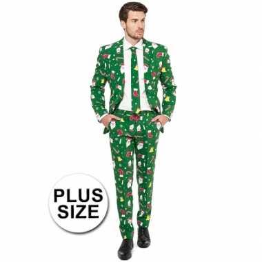Grote maat groene business suit met kerst thema