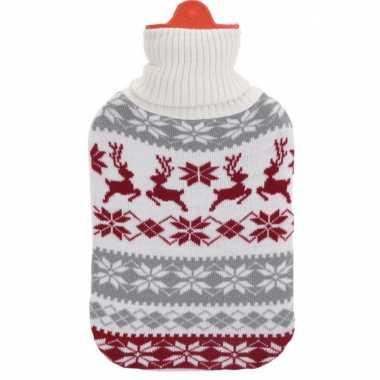 Kerstkruik grijs/wit/rood met rendieren kerst outfit hoes