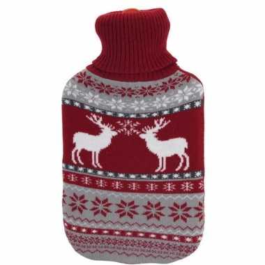 Kerstkruik met rood/grijze rendieren kerst outfit hoes
