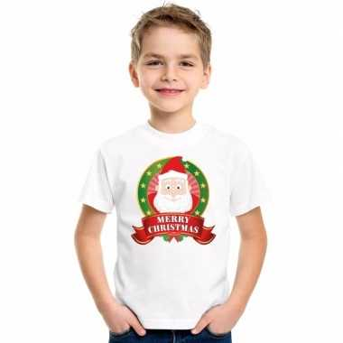 Kerstman kerstmis shirt wit voor jongens en meisjes