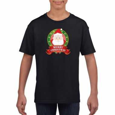 Kerstman kerstmis shirt zwart voor jongens en meisjes