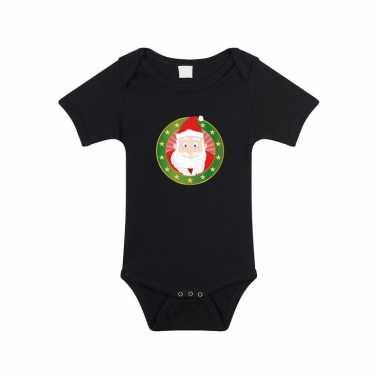 Kerstoutfit baby rompertje met kerstman zwart jongens en meisjes