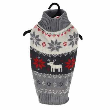 Kerstoutfit voor honden/katten grijze kerst outfit met rendiertjes en sneeuwvlokken