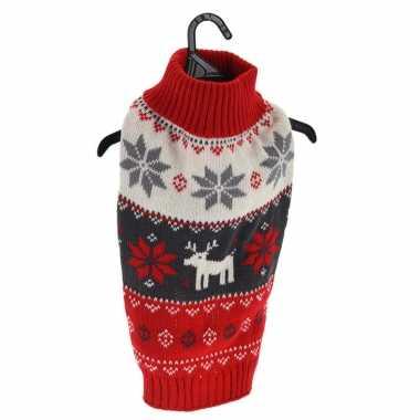 Kerstoutfit voor honden/katten rode kerst outfit met rendiertes en sneeuwvlokken