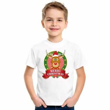Rendier kerstmis shirt wit voor jongens en meisjes