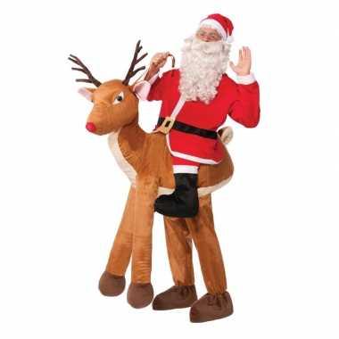 Ride on outfit kerstman op rendier voor volwassenen