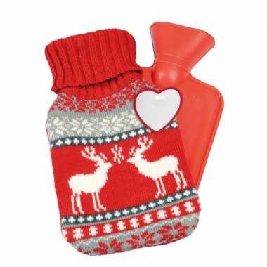 Rode kerst/winter kruik met gebreide hoes 595 ml