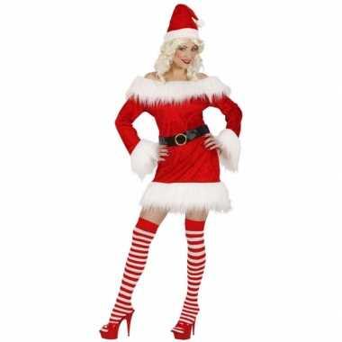 Rood fluwelen kerstoutfitje voor dames