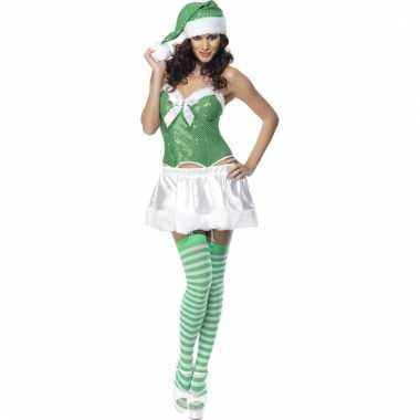 Sexy cheer outfit groen en wit