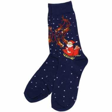 Sokken kerst blauw met rendieren
