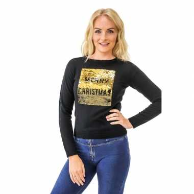 Zwarte kerst outfit met pailletten kerst outfit pailletten dames merry christmas/happy new year dames